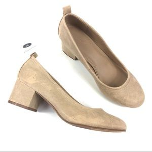 Lenora Microsuede Closed Toe Heeled Pumps Taupe 7